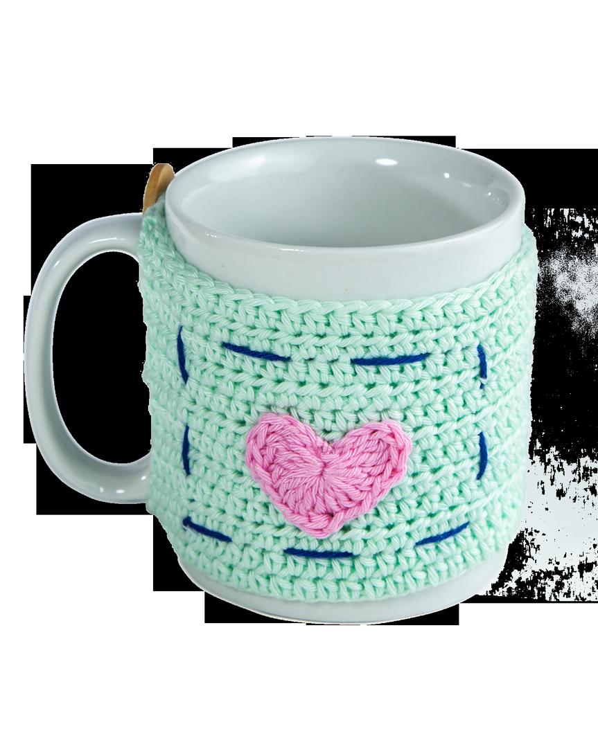 Roupa de Crochê para Canecas - Fun Mug Love - Verde Com Caneca